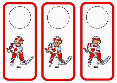 free printable hockey bookmarks hockey themed free printable door hangers themed door