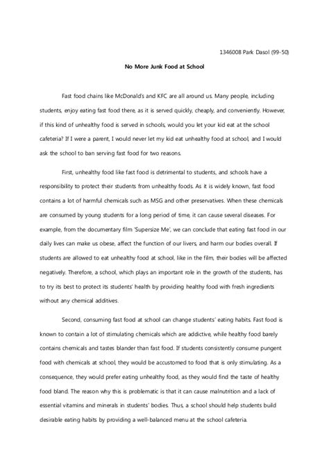 Fast Food Essay by Argumentative Essay Draft