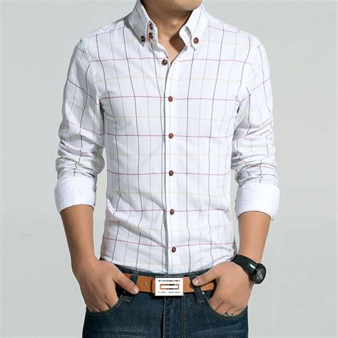 Plaid Shirt White Size S M new arrival 2015 s shirt fashion plaid sleeve shirt casual slim shirt colors