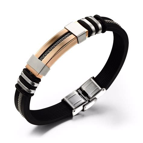 Genuine silicone bracelet cool men jewelry stainless steel men bracelets bangles black bracelet