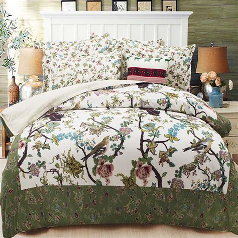 elegant country style floral and bird print bedding sets