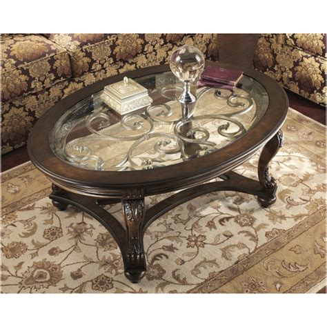 Norcastle Coffee Table Furniture Norcastle Collection Rich Brown Finish Wood Oval Coffee Table With Glass