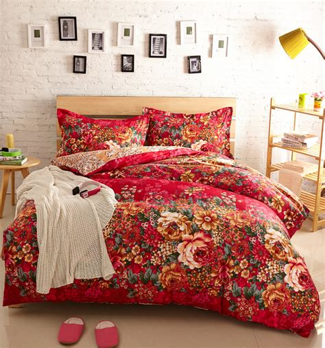 floral bed sets floral housse de couette roupa de cama comforter sets red