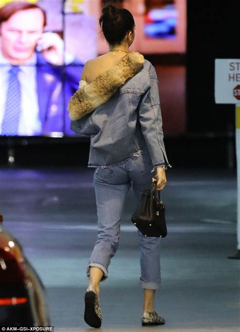 Cr Set Denim Bearly kendall jenner wears denim for a casual lunch in