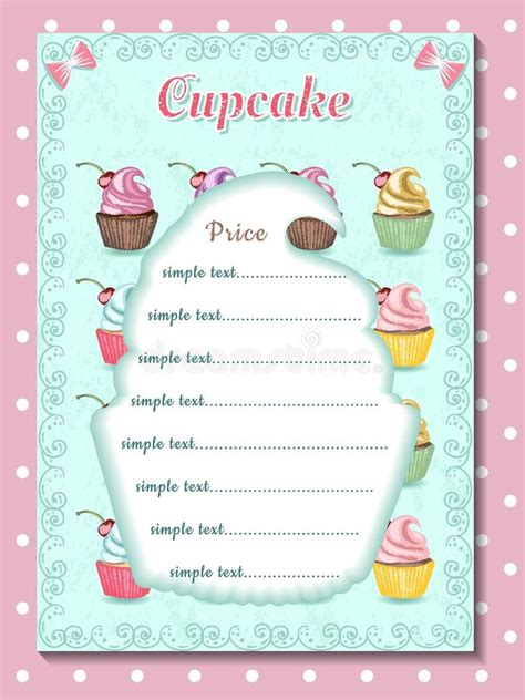 cupcake price list template template of price list for cupcake design of desert menu