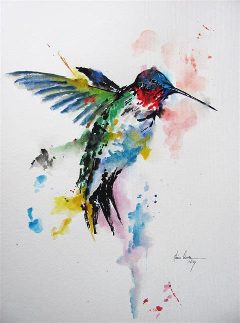 abstract watercolor hummingbird in splashes tattoo design