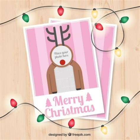 Reindeer Card Template by Reindeer Card Template Vector Free