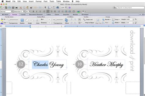 wedding place card template excel free printable place cards the budget savvy