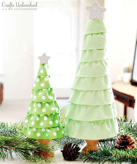 christmas tree craft with ruffles step by step tutorial