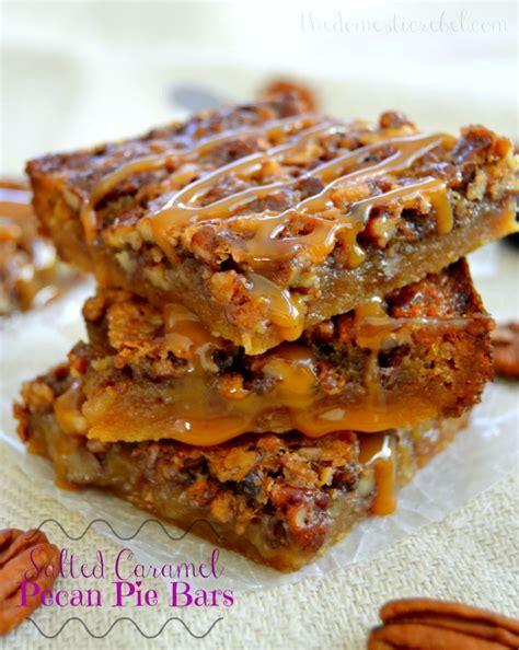 salted caramel pecan pie bars nutty desserts week
