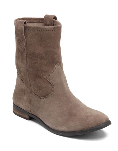 vince camuto suede ankle boots in brown taupe lyst