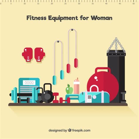 gym layout design software free download fitness equipment for woman in flat design vector free
