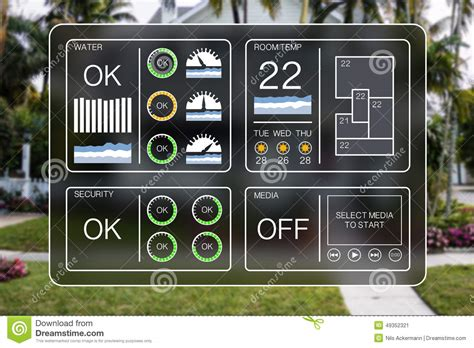 flat design illustration of a home automation dashboard to