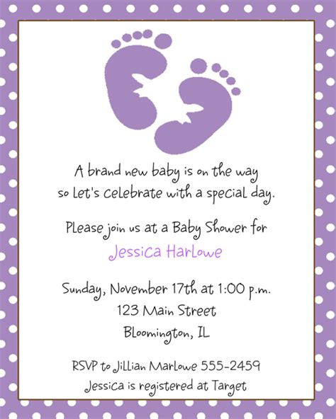 Footprints Baby Shower Theme by Footprint Baby Shower Invitations Baby Shower Ideas Purple