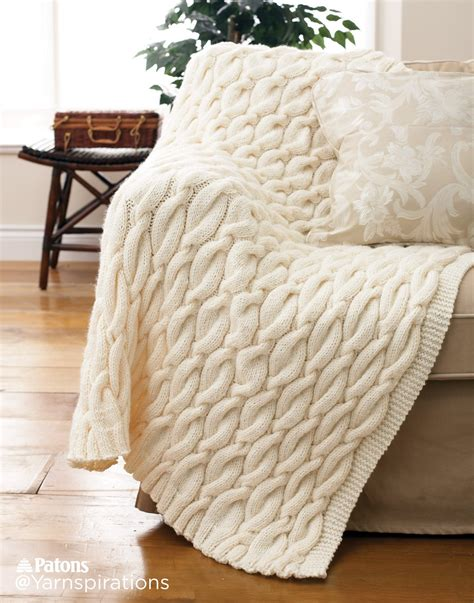 knit throw patons knit cable blanket knit pattern yarnspirations