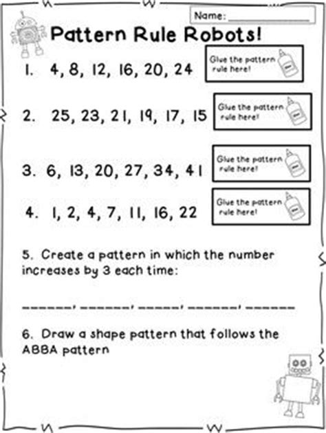 math pattern rule worksheets number pattern activities centers and craftivities