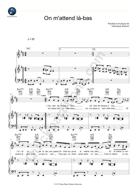 tutorial piano veronique sanson partition piano on m attend l bas vronique sanson