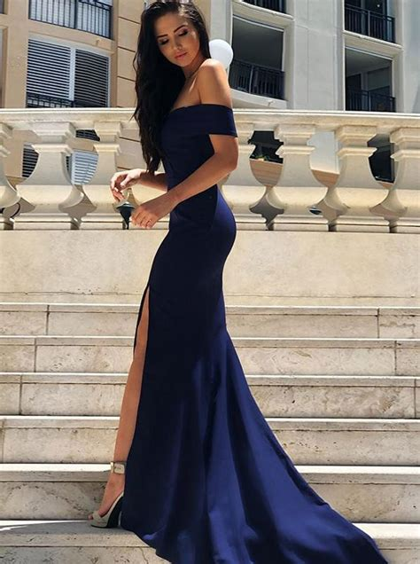 fitted   shoulder prom dress  slitevening dress