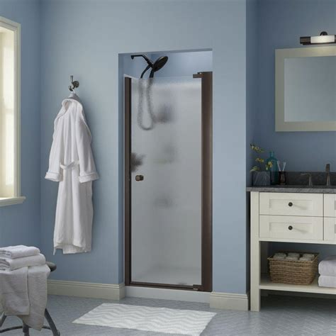 Delta Shower Door Delta Mandara 30 In X 64 3 4 In Semi Frameless Contemporary Pivot Shower Door In Bronze With