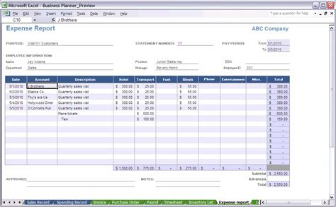 excel template expense report business expense reports images frompo 1