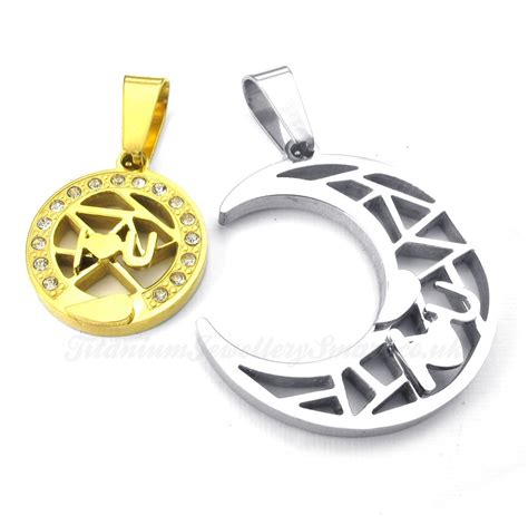 titanium gold moon and couples pendant necklace