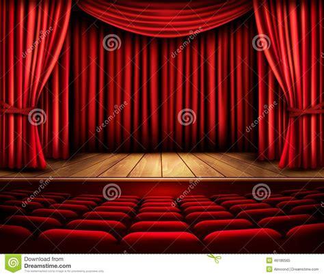 curtain scene cinema or theater scene with a curtain stock vector