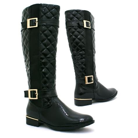 black boots for black patent gold buckle quilted boots from parisia