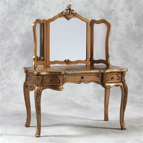 Gold Vanity Table by Antique Gold Style Large Dressing Table And Mirror