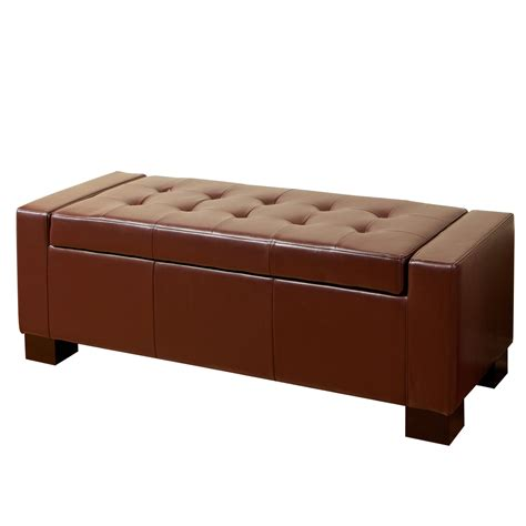 Leather Storage Ottoman Bench Warehouse Of Ariel Brown Leather Storage Bench Home Furniture Living Room