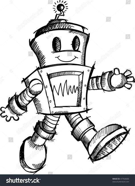 doodlebug drawing robot robot sketch doodle vector stock vector 47764600