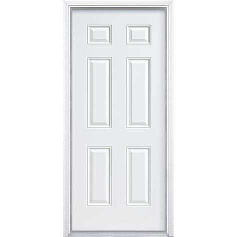 home depot prehung interior door 36 in x 80 in 6 panel primed premium steel front door slab thdjw166100317 the home depot