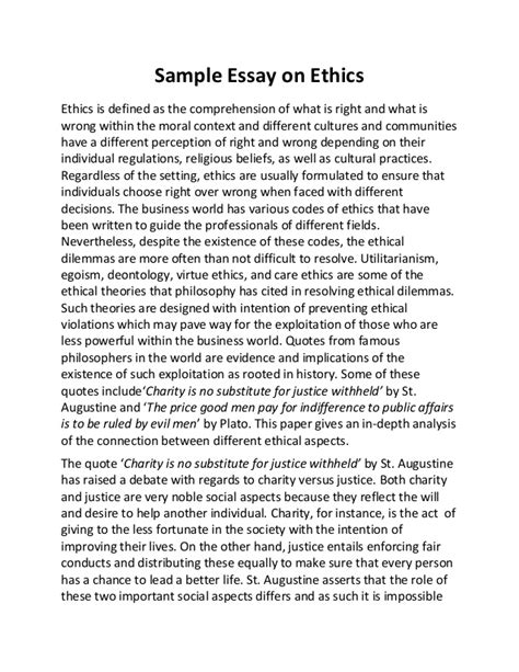 Ethical Dilemma Essay Exle by Sle Essay On Ethics