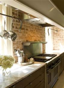 exiting brick wall kitchen backsplash rustic interior