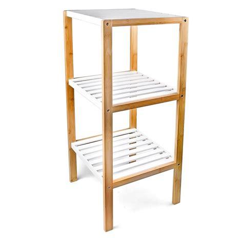 Bamboo Bathroom Shelf Unit by 3 4 Tier Freestanding Bamboo Bathroom Storage Unit Shelf