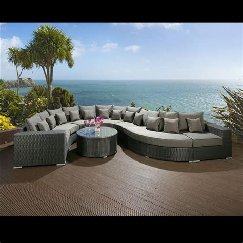 rattan curved sofa luxury outdoor garden curved 8 seater corner sofa