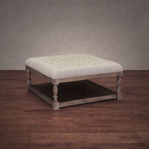 overstock ottoman coffee table 555 creston beige linen tufted ottoman brown foam
