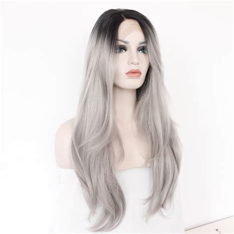 how to manage very resistant grey hair two tones ombre lace front wig with black to gray gradient