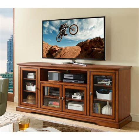 70 quot highboy style wood tv stand rustic brown walker edison w70c32rb