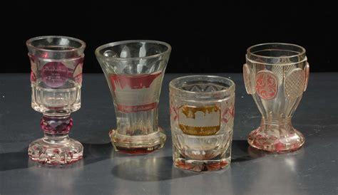 bicchieri bohemia lotto di quattro bicchieri in vetro di boemia