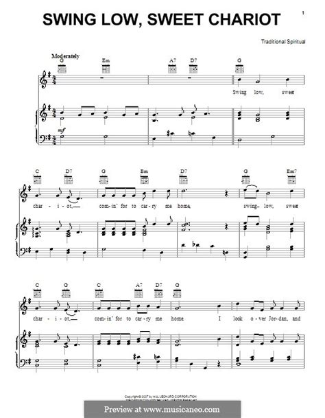 Swing Low Sweet Chariot Sheet Pdf swing low sweet chariot by folklore sheet on musicaneo