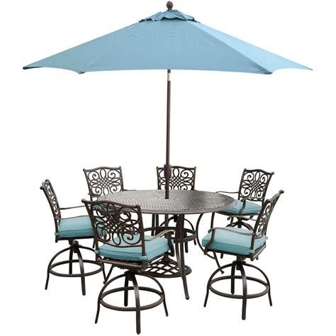 Bar Height Outdoor Dining Table Set Hanover Traditions 7 Outdoor Bar Height Dining Set With Cast Table Swivels Umbrlla