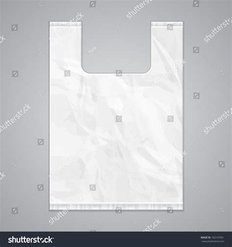 Disposable Plastic Bag Package Grayscale Template Stock Vector 192197951 Shutterstock Plastic Bag Design Template