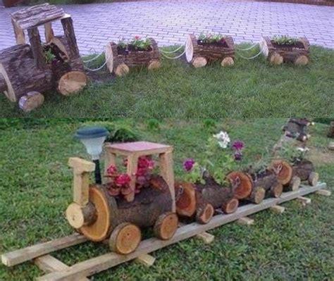 imagenes de jardines con troncos tren con troncos recicla pinterest troncos de madera