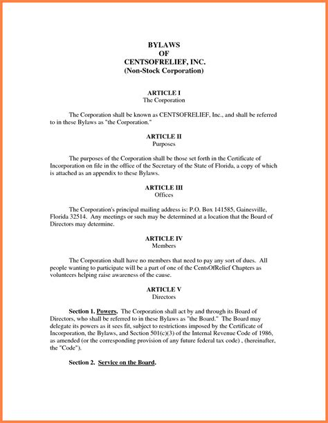 9 Company Bylaws Template Company Letterhead Corporate Bylaws Template