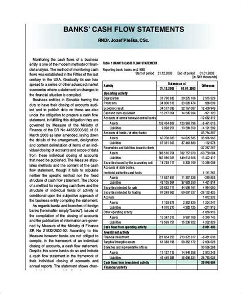 cash flow format for bank loan 26 exles of cash flow statements