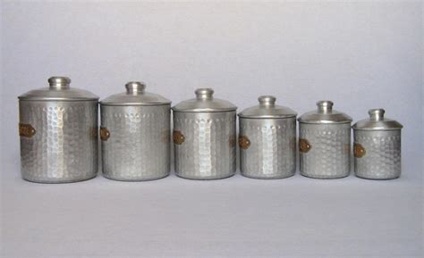 set of dimpled french aluminum vintage kitchen canisters from yesterdaysfrance on ruby lane complete set of six french vintage aluminum kitchen