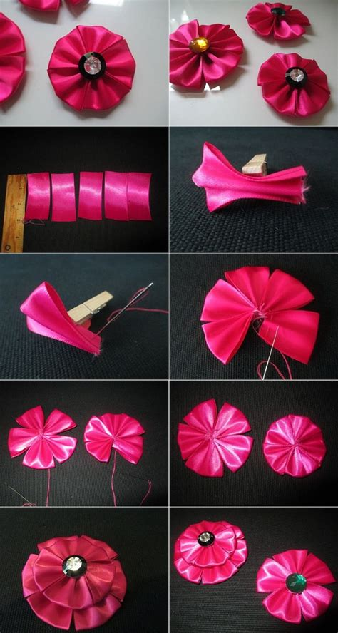 How To Make Handmade Flowers From Ribbon - diy tutorial fabric flowers how to make a ribbon flower