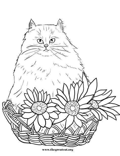 flower coloring book cats and flowers coloring book the great cat