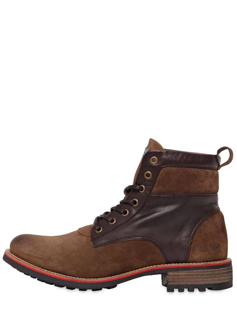 armani boots for lyst armani suede leather lace up boots in brown