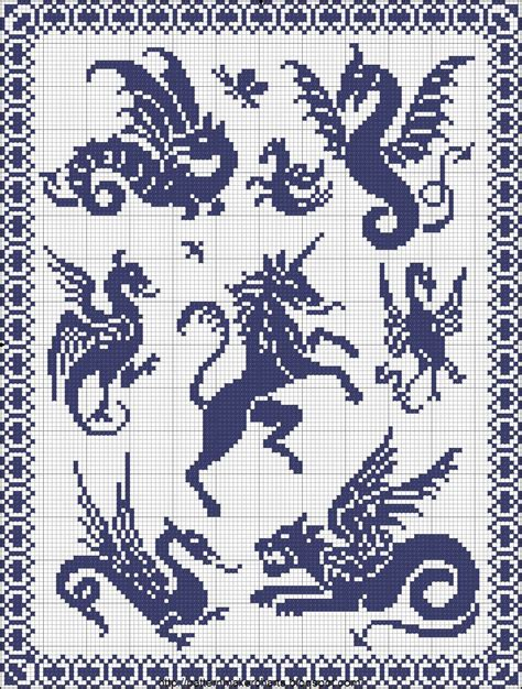 pattern maker cross stitch dragons wayverns and unicorns free easy cross pattern